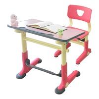 HanU 兒童健康可調整全成長書桌椅(1桌+1椅)-粉紅色