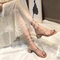 中跟涼鞋水鑽蛇形纏繞涼鞋女2019夏網紅同款羅馬粗跟一字帶高跟鞋露趾中跟 愛麗絲精品