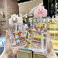 玻璃水壶 水瓶 玻璃杯 大容量情侶隨身杯小清新水杯子 韓版可愛彈蓋