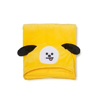 LINE FRIENDS BT21 Official Merchandise CHIMMY Character Hooded Throw Blanket for Indoor/Outdoor, Yel