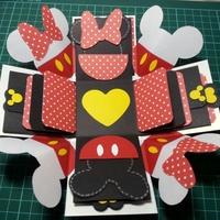 【預訂-六個機關】米奇,米妮禮物盒,爆炸禮物盒,卡片禮物盒,機關卡片,情人節禮物