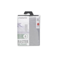 BRABANTIA Ironing Board Cover B 124x38cm Cotton 2mm Foam Metalised Silver