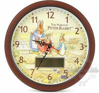 彼得兔指針時鐘壁掛式掛鐘LCD電子雙顯示圓081428預購