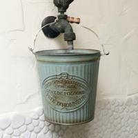 【Meric Garden】歐式仿舊復古雜貨風灰藍鐵藝裝飾花器 (小鐵桶)