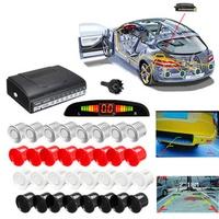 4 Front & 4 Rear LCD Display Monitor Reverse View Backup Parking 8 Car Sensor Buzzer Alarm Detector System
