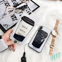 2018 creative Coffee Cup quicksand case for Iphone 6 7 8 plus Iphone X Oppo R9 R9s R11 R11s Plus R15
