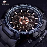 Liliya Glamour Automatic Mechanical Hollow Transparent Gold Silver Black Titanium Steel business Men Watch