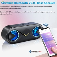 Bluetooth 5.0 Stereo Wireless Speaker Support TF Card AUX USB With LED Flash [Qiqimall]