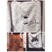 bear met you we bare bears miniso a good products furry female tote bag