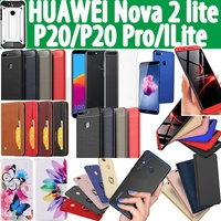 HOT 2018 Laest Leather  Temepred Glass case for Huawei Nova2 Lite Y7 Prime 2018 Honor 10 P20 Pro