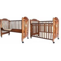 附嬰兒床墊安全無鉛漆(無毒烤漆) 附嬰兒床墊與成長側板 成長型組合大床 實木嬰兒床實木床欄杆可調