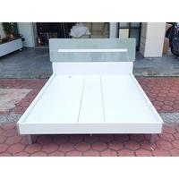 香榭二手家具*時尚亮光漆 灰白色標準雙人5x6.2尺鐵腳床架-雙人床-床箱-床底-床組-中古床架-台中家具回收-五尺床組