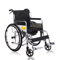 "24"" Folding Lightweight Steel Transport Wheelchair Brakes Folding Armrests"
