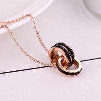 單雙排鑽雙環鑲滿鑽三色鈦鋼項鍊女18K玫瑰金不掉色玫瑰金鎖骨鏈