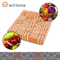 ecHome Organic Bamboo Chopping Board FDA Food Grade Square Fruit Vegetable
