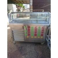 二手不銹鋼冷藏攤車(內附冷藏冰箱)吧檯餐車/飲料台車/造型餐車