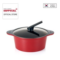 Happycall 24cm / 4LT Alumite Ceramic Die-Cast High Stock Pot + Cover - Red (3003-0019)