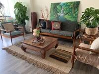 Pencil Leg Solid Teak Pak Awang Sofa with upholstery