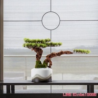 迎客鬆盆景 輕奢仿真植物大盆栽客廳室內裝飾羅漢鬆樹假綠植擺件 JD CY潮流站