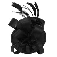 Pejkelew LingTud Elegant Women Feather Satin Cocktail Sinamay Fascinator Party Hair Clip Bridal Headwear.Black
