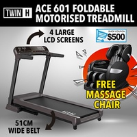 Twin H ACE601 Motorised foldable treadmill 4 LCD Screen Multimedia Home Gym Professional Commercial