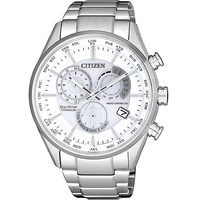 CITIZEN星辰 光動能浩瀚宇宙 鈦金屬三眼電波錶(CB5020-87A)-銀/42mm
