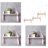 Wood Rope Floating Tassel Floating Wall Swing Shelf Hanging Storage Decorations