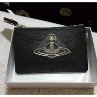 Vivienne Westwood 日版 土星卡夾識別套皮革壓紋拉鏈零錢包