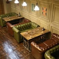 【恆泰居家】工業風復古個性鉚釘做舊主題餐廳咖啡廳沙發KTV酒吧沙發卡座桌椅