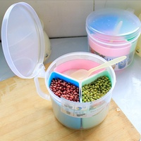 Creative Kitchen plastic seasoning box can be simple circular lid 3 three grid seasoning Box Set spi