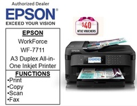 Epson Workforce WF-7711 A3+ Print,Scan,Copy & Fax with ADF Priinter for Business (Free 32GB Flash Drive) ** Free $40 NTUC Voucher Till 2nd Mar 2019 ** WF-7711 WF7711 WF 7711