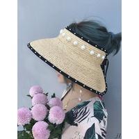 R&U 手工編織拉菲草空頂蝴蝶結草帽chic系帶珍珠大帽檐沙灘遮陽帽