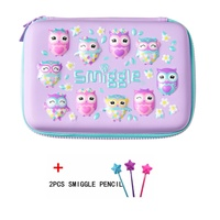 Smiggle Hardtop Pencil Case - Purple owl+Surprise gifts - intl