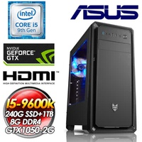 華碩Z390平台【王之逆襲】 INTEL I5-9600K六核心 240G SSD +1TB HDD GTX1050-2G 8G DDR4 550W 全新九代I5六核電玩影音娛樂主機