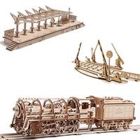 UGEARS Locomotive 蒸氣火車頭豪華三件套組[6510元→5799元]|免電力自走模型|益智玩物