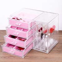new earrings storage box ear nails korean princess jewelry necklace display rack bracelet powder wat