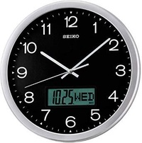 Seiko QXL007A Analog Digital Black Wall Clock