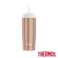 【THERMOS 膳魔師】不鏽鋼真空吸管隨行瓶0.47L(TS4037RG)玫瑰金色