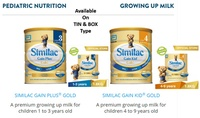 SIMILAC ® GAIN PLUS STAGE 3 and 4   1.8KG