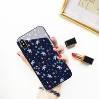 【現貨】 玻璃殼 編號149 三星 Samsung A8+ 手機殼 A8 PLUS 硬殼 星空 太空人 卡通圖案 星球