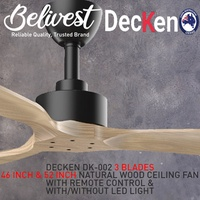 (HIGH END / SUPERIOR FAN) DECKEN DK-002 Ceiling Fan (NATURAL WOOD)  (FREE NTUC FAIRPRICE $5 VOUCHER)