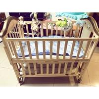 二手成長型嬰兒床-附棕墊可當書桌-近全新