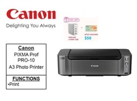 Canon PIXMA PRO-10 A3+ Professional Photo Printer ** Free Prolink 5-Port USB and $50 NTUC Voucher Till 24th Feb 2019 ** Pro10