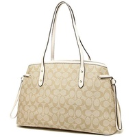Coach Tote Bags Drawstring carryall in signature shoulder bag outlet F57842 imitation white brown black
