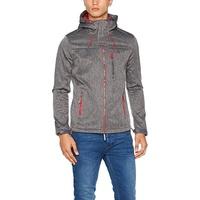 Superdry Mens Hooded SD-Windtrekker Jacket Dark Charcoal Grit Grey , Dark Charcoal Grit - X-Large