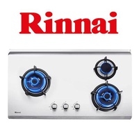 RINNAI RB-93TS 3 BURNER HYPER FLAME STAINLESS STEEL BUILT-IN HOB