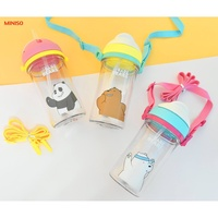 Miniso We Bare Bear Bottle With Straw (400ml)