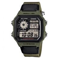 CASIO 經典地圖設計帆布材質數位休閒錶(AE-1200WHB-3B)綠/45mm