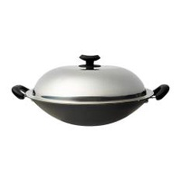 Dolphin Collection Non-Stick Chinese Wok With Stainless Steel Cover -36 Cm