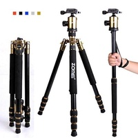 """Zomei Z818 65-inch Lightweight Camera Tripod, Aluminum Portable Detachable Monopod, 360 degree Ball Head, 1/4"""" Quick Release Plate with Carrying Bag for Canon Nikon Sony - 33lbs(15kg) Load (Golden)"""